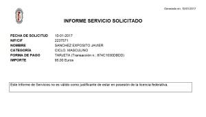 Informe del servicio solicitado